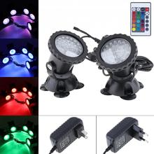 2 Lights 36 LEDs Color Landscaping Spotlights Water Grass Fill Light with Remote Control 16 Colors for Aquarium Fish Tank Pool