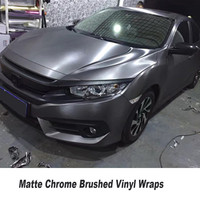 Dark Grey Matte Chrome Brushed Vinyl wraps For Car wrap Covering Foile with air Bubble free / Air release size 5ft X 65ft/Roll