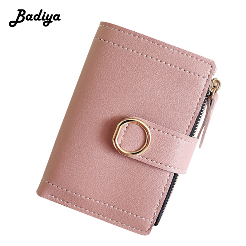 Fashion Solid Pink Small Wallets For Women Short Bifold Zipper Coin Purse Leather Girl Pu Leather Student Clutch Wallet