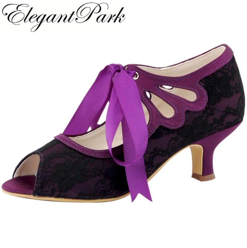 Woman Peep Toe Mid Heel Black Purple Mary Jane Ribbon Tie Bride Lace Pumps Bridesmaids Prom Evening Wedding Bridal Shoes HP1522