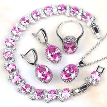 925 Sterling Silver Pink Crystal Wedding Jewelry Sets For Women Earrings/Rings/Bracelet/Necklace Free Box