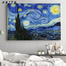Van Gogh Notte Stellata Astratta Paesaggio della Tela di canapa Poster Famoso Classico di Arte Della Parete di Stampa Immagine Decorativa Modern Living Room Decor