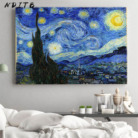 Van Gogh Starry Night Abstract Landschap Canvas Poster Beroemde Klassieke Wall Art Decoratieve Picture Moderne Woonkamer Decor
