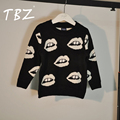 2017 Thicken Children Sweaters Black Boys Sweater Baby Girl Cute Lip Pattern Pullover Sweater Kids Girls Knitted Cotton Blouse