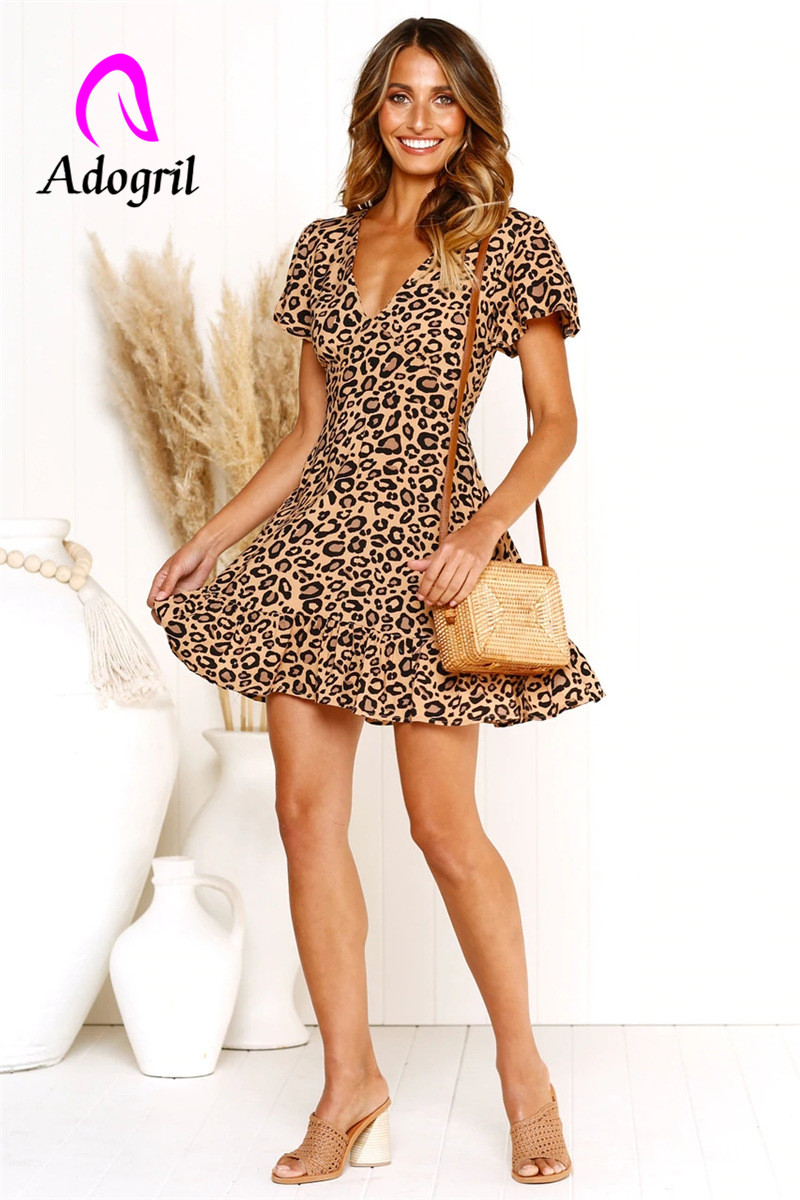 short sleeve ruffle layer leopard patterned dress fashionable pleated v neck women casual vintage outfits