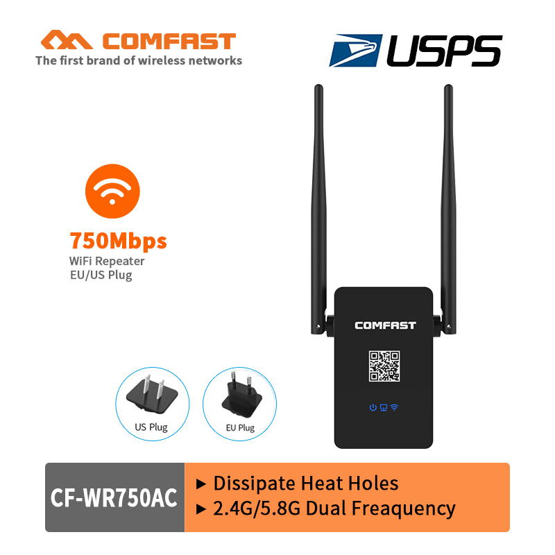 COMFAST 750Mbps WIFI Repeater signal amplifier 2.4G/5.8G 802.11ac Wi fi router repeater Extender Dual Band repetidor usps free