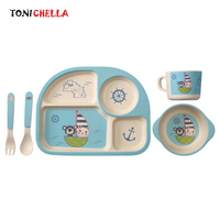5 Pcs Set Children Bamboo Fiber Tableware Baby Dinner Dishes Plate Bowl With Spoon Dinnerware Feeding