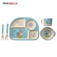 5 Pcs Set Children Bamboo Fiber Tableware Baby Dinner Dishes Plate Bowl With Spoon Dinnerware Feeding