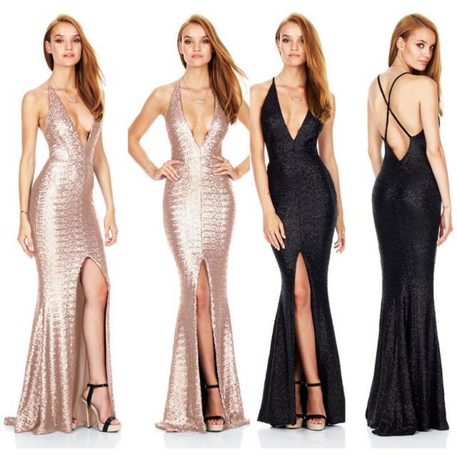 447f2f35ab71 € 17.6 29% de DESCUENTO|Aliexpress.com: Comprar Vestido de fiesta largo con  espalda descubierta y escote en V profundo dorado con encaje cruzado de ...