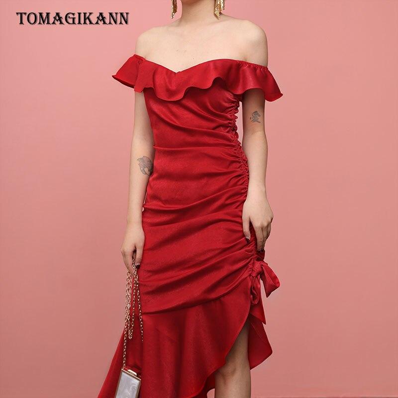 Asymmetric Red Off Shoulder Draped Bandage Dress 2019 Women Elegant Ruffles Slash Neck Bodycon Sundress Party Aniversary Dresses in Dresses from Women 39 s Clothing