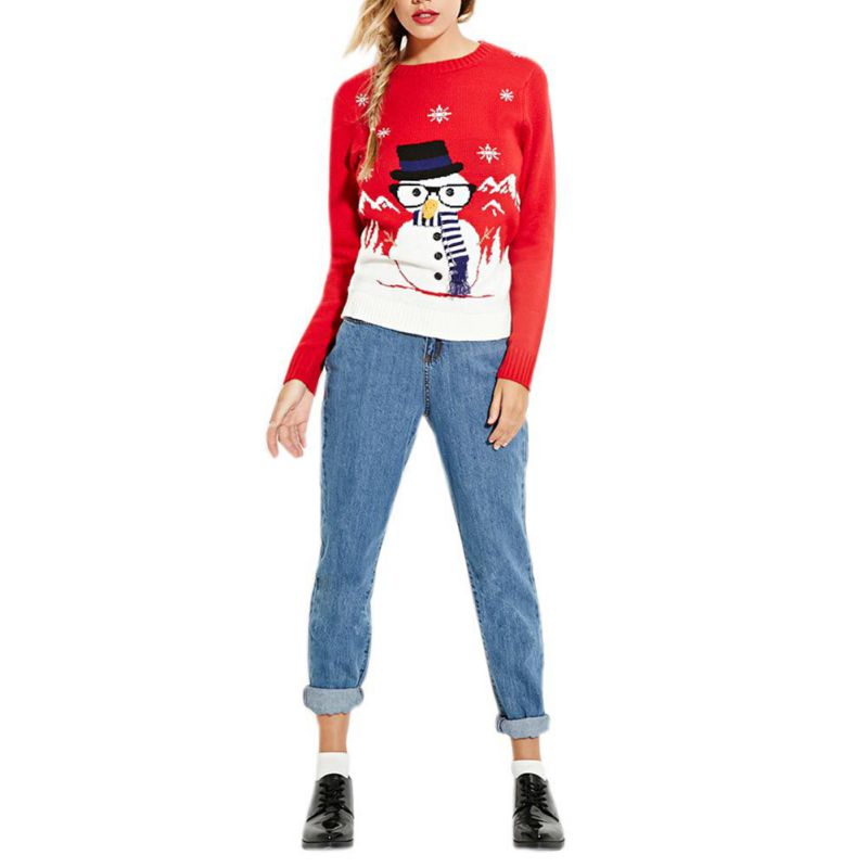 Sweater For Women Christmas Long Sleeve Elk Snowman Pattern 5 Style Pullover Casual Knit One Size Ladys Sweater
