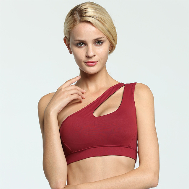 Sexy One Shoulder Fitness Yoga Push Up Sports Bra for Women Gym Running Padded Tank Top Athletic Vest Underwear Sport Bra Top 5