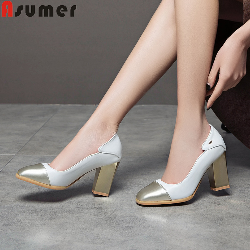 ASUMER 2019 New Shoes Woman Square Toe Shallow Pumps Women Shoes Mixed Colors High Heels Shoes Women Prom Wedding Shoes ASUMER 2019 New Shoes Woman Square Toe Shallow Pumps Women Shoes Mixed Colors High Heels Shoes Women Prom Wedding Shoes
