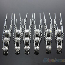 Hot 20Pcs Sliver Wedding Party Bridal Crystal Rhinestone Diamante Clips Hairpin 0JB1
