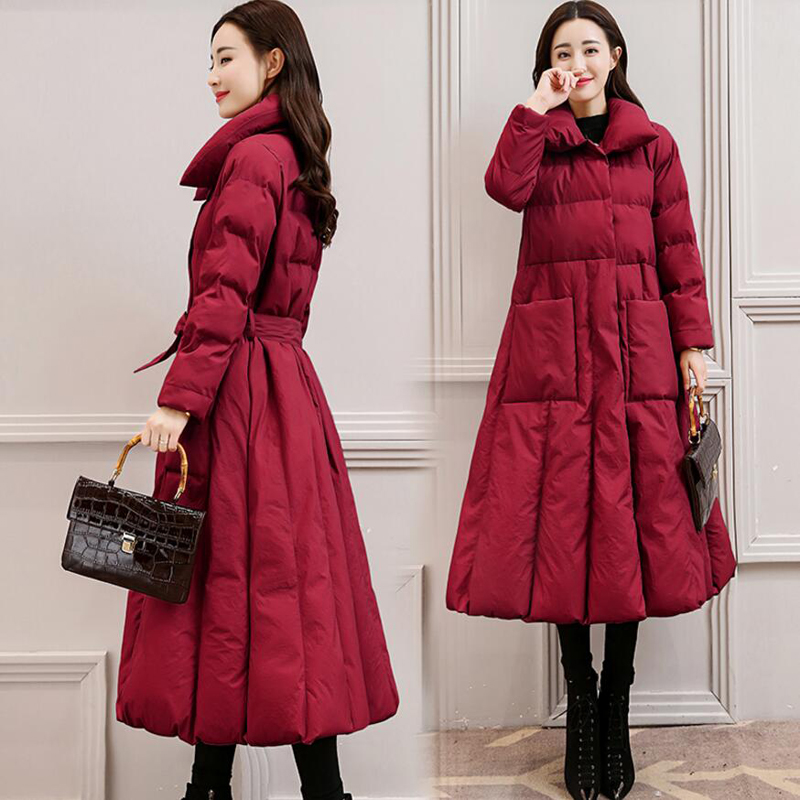 High Quality 2018 Winter Long Duck   Down     Coats   Female Parkas Women   Down   Jacket   Coat   X-long Fashion Thicken Warm Outerwear YP1249