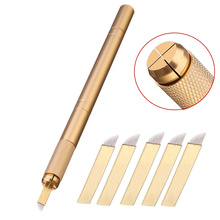5pcs 12pin Blade Needles+Golden Tebori  3D Pen Microblading Tattoo Machine For Permanent Makeup Eyebrow Tattooing Manual Guns