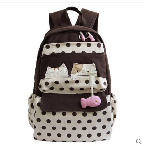 Korean version of canvas shoulder bag sweet lady lovely backpack student bag fashion girl gift korean version canvas shoulder bag backpack student bag ladies cartoon cute new child birthday gift