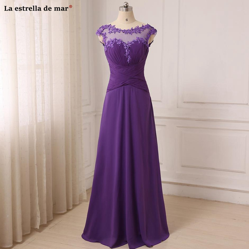 Purple Bridesmaid Dresses Chiffon Sheer Appliqued Lace A-line Real Picture Weddings Guest Dress Long Floor Length Vestido Madrin