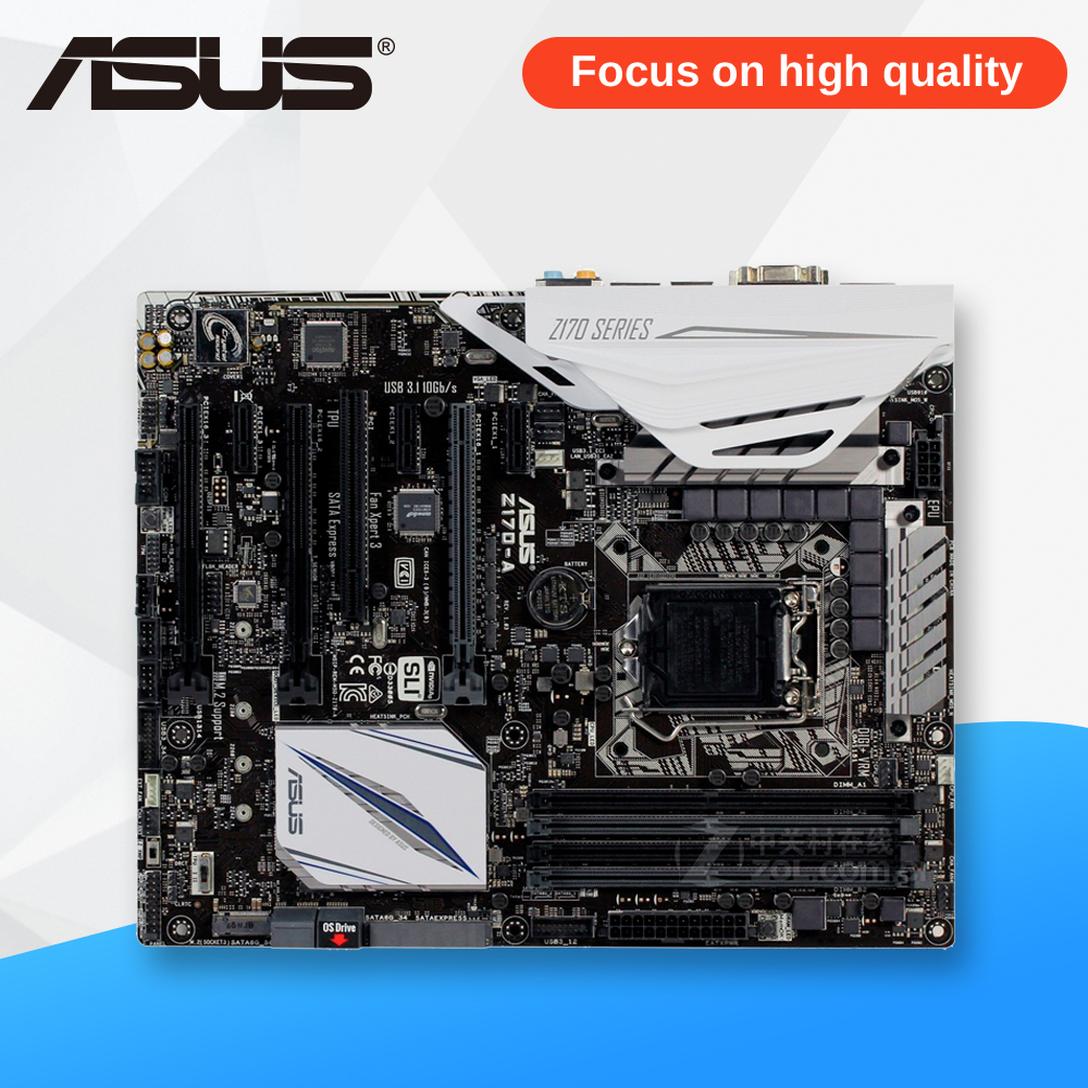 Asus Z170-A Desktop Motherboard Z170 Socket LGA 1151 i7 i5 i3 DDR4 64G SATA3 USB3.0 ATX On Sale