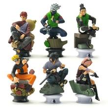 6pcs / set Naruto hands do fire shadow pawn base model ornaments doll Kakashi Sasuke