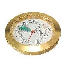 43 мм Диаметр прецизионный аналоговый гигрометр влаги Humidor Золотой указатель метр для табака сигары легко носить с собой