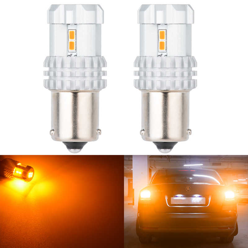 Katur 2pcs BAU15S PY21W Led Bulbs 12 SMD 3020 Auto Lamp Bulbs LED DC 12V Turn Signal Light DRL 1156/ba15s BAY15D T20 T25 Power
