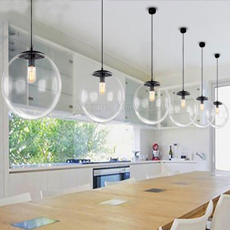 Modern Clear Glass Ball Pendant Lights Globe Lampshade