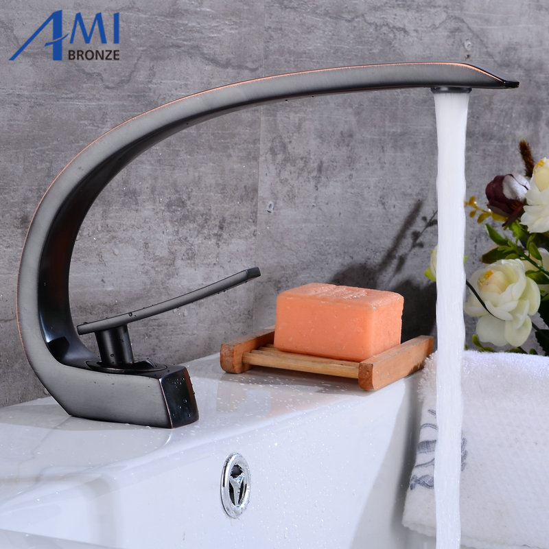 Newly Art Basin Faucet Brass Spout Bathroom Faucets Hot Cold Mixer Tap Waterfall Faucets Black Crane