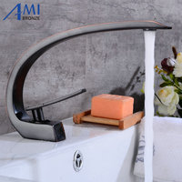Newly Art Basin Faucet Brass Spout Bathroom Faucets Hot Cold Mixer Tap Waterfall Faucets Black Crane 9126S