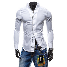 Spring Autumn Men Shirts Fashion Long Sleeve Button Casual Shirt Male Slim Navy White Business Tops Man Clothes Plus Size C04