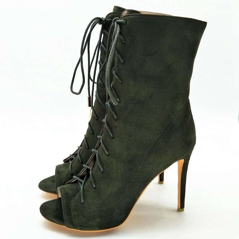 Tobillo De Zapatos Mujer Green Peep Moda Botas Finos Cr62 Mujeres Enmayer Las Invierno Toe Para Encaje Tacones Bolso Rebaño IFHtpwx
