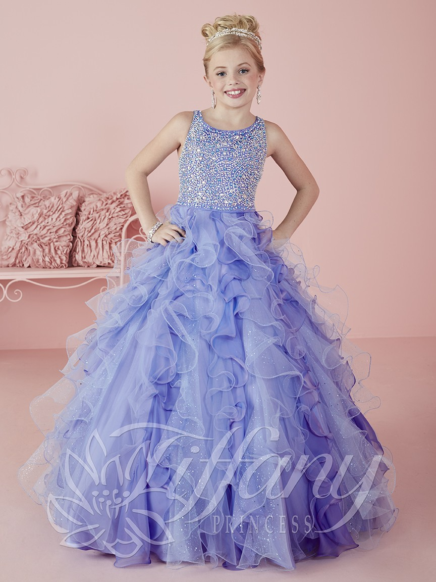 d2d3daa0c85 Ball Gowns Flower Girls Pageant Dresses for Little Girls Ruffled Pearls  Crystal Beaded Child Birthday Party Prom Gowns
