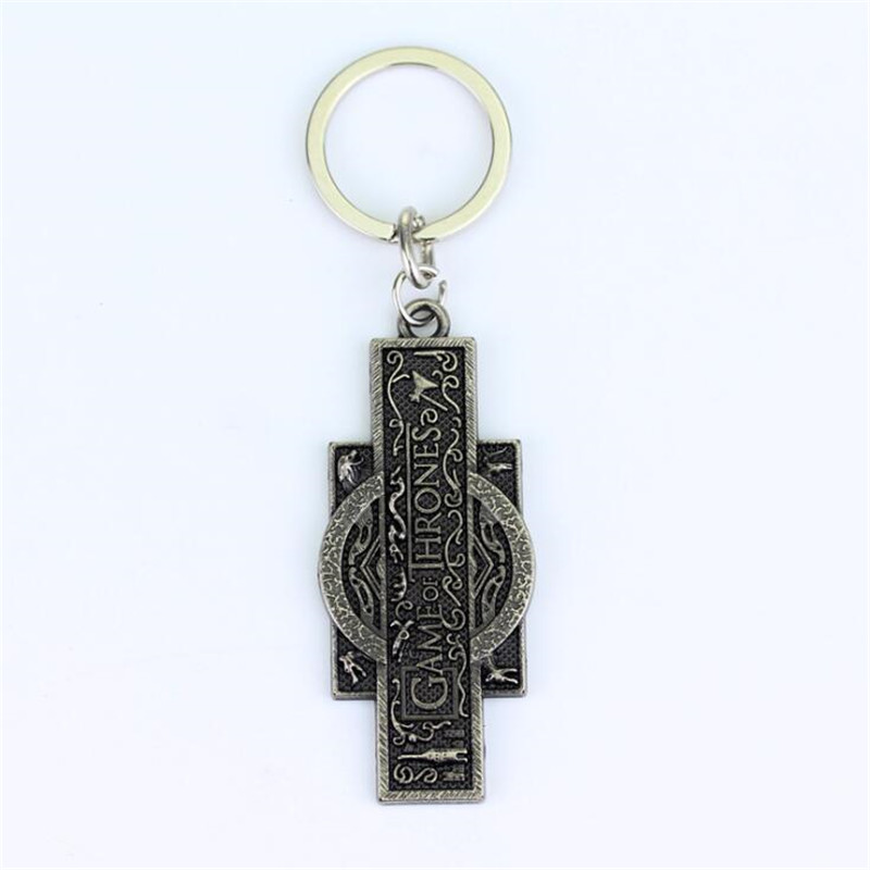 Movie Game Of Thrones Key Chain Vintage Bronze Cosplay Costumes Letter Logo Badge Metal Accessory  Keychain Small Gift