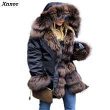Xnxee Winter Parka Solid Hood Fashion Slim Thick Female Overcoat Casual Military Luxury Faux Fur Lining Warm 2018 New Snowy Coat