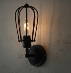 Художественное освещение Промышленное E27 Эдисона настенный светильник винтажный черный железная готовая клетка освещение фитинг для украшения дома - Цвет корпуса: Коричневый