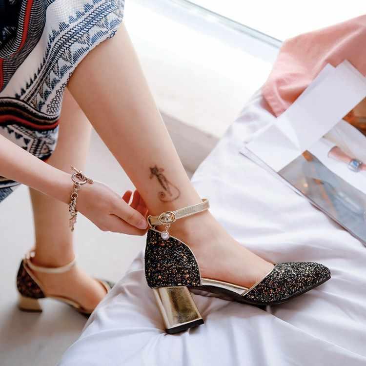 Büyük boy 12 13 bayanlar yüksek topuklu kadın ayakkabı kadın pompaları payetli yüksek topuklu tek ayakkabı
