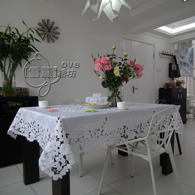 Rustic Cloth Embroidery Dining Table Cloth Big Table Cloth Tablecloth Table  Mat Cutout Cover Towel White
