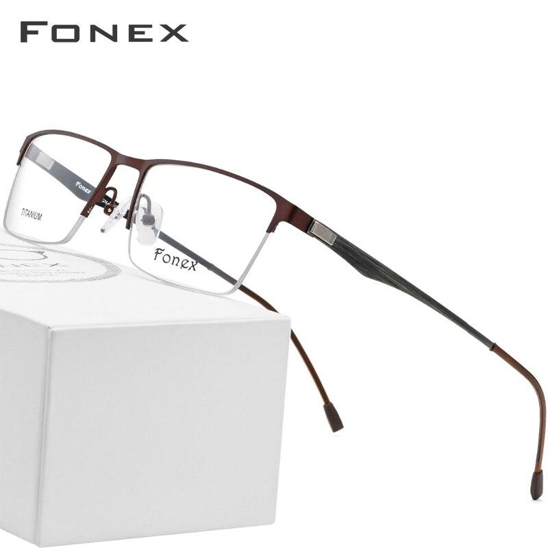 Trendmarkierung Titan Legierung Gläser Rahmen Männer Platz Myopie Brillen Männlichen Metall Halb Randlose Optische Rahmen Schraubenlose Brillen Farben Sind AuffäLlig Herren-brillen