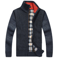 2014 New Warm Thick Velvet Cashmere Sweaters Men Winter Cardigan Zipper Tops Stand Collar Man Casual
