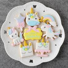 New 8pcs/Set Plastic 3D Unicorn Cookie Cutter DIY Fondant Ca
