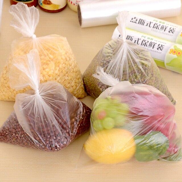 100 pcs de bolso Saco De Armazenamento De Alimentos poli embalagens de alimentos sacos de mylar envoltório de saran reutilizável food envoltório de plástico transparente saco de cheiro sacos à prova
