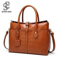Семь кожи роскошные дизайнерские Для женщин сумка большая сумка Для женщин Качество кожаные сумочки для женского крокодил сумка