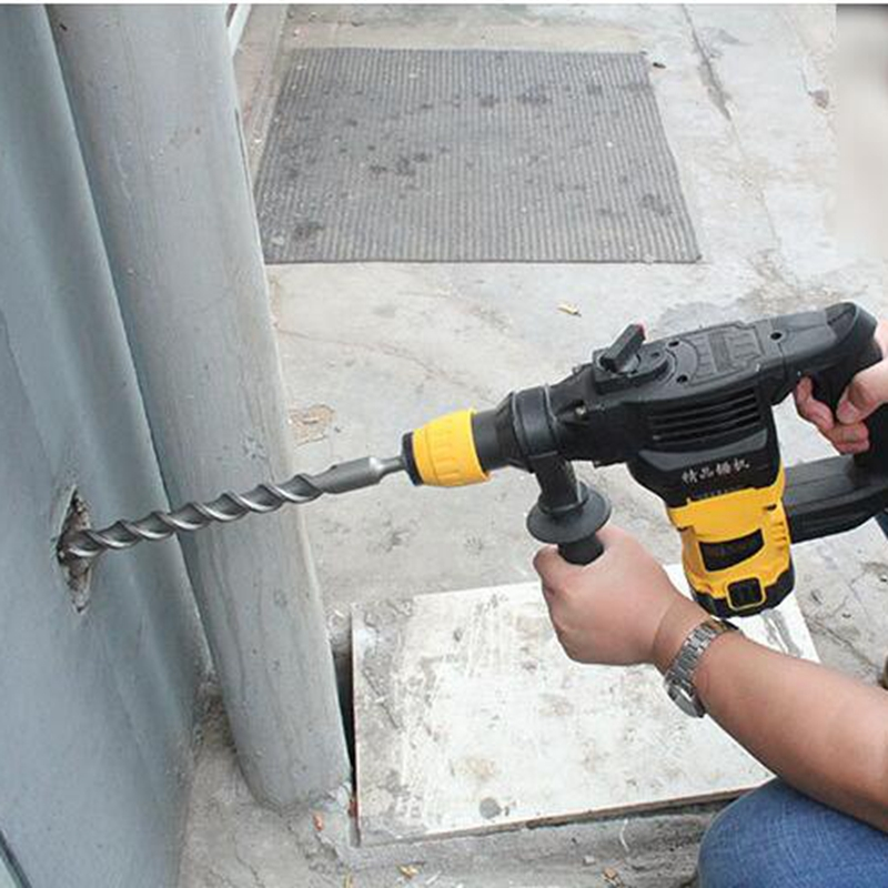 3pcS long 350mm 10/20 / 25mm hammer impact drill handle four pit, wall drilling tiled marble concrete cement drill, SDS plus car 1piece 6 16mm 160mm sds impact drill bit electric hammer impact drill concrete wall drilling power tool accessories
