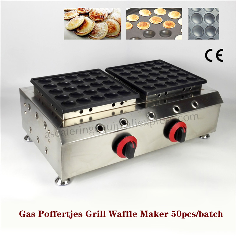 Gas 50pcs Poffertjes Grill Waffle Machine Double Pans Stainless Steel Non stick Dutch Cookies Maker Brand New