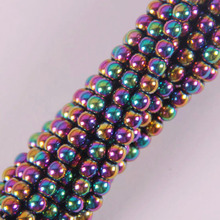 4MM Motley Magnetic Hematite Round Loose Beads Strand 16 Inch Jewelry For Gift Making B088