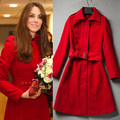 Winter Red Bride Jackets 2017 British Kate Princess Wool Coat Desigual Women Long Design Woolen slim Christmas Outerwear 543125