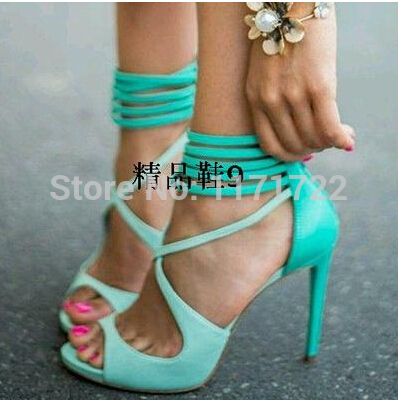 New Arrivals Aqua Ankle Cross Strap Strappy High Heel Sandals Turquoise Designer High Heel Dress Shoes Women цена 2017