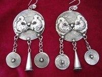 KOSTENLOSER versand>> Horde handmade Miao silber ersten schmuck Fische trompete ring vintage nationalen fransen