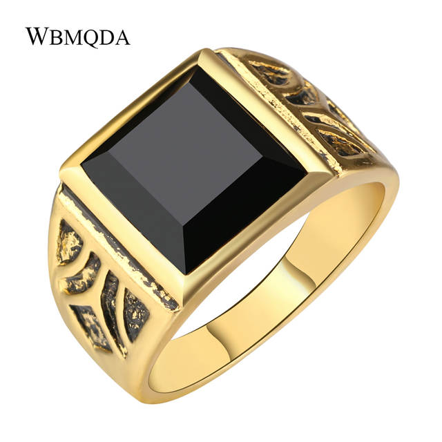 Vintage Square Black Stone Signet Ring Men Antique Gold Wedding