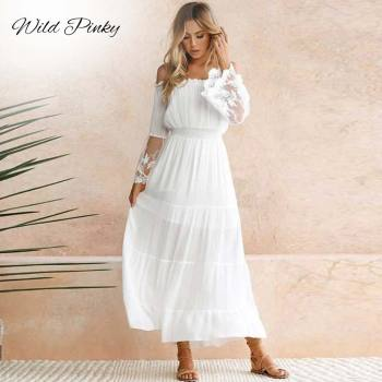 2019 summer women boho maxi dresses loose long sleeve sundress white lace dress long hollow out beach dress WildPinky Summer Sundress Women White Beach Dress Strapless Long Sleeve Loose Sexy Off Shoulder Lace Boho Chiffon Maxi Dress